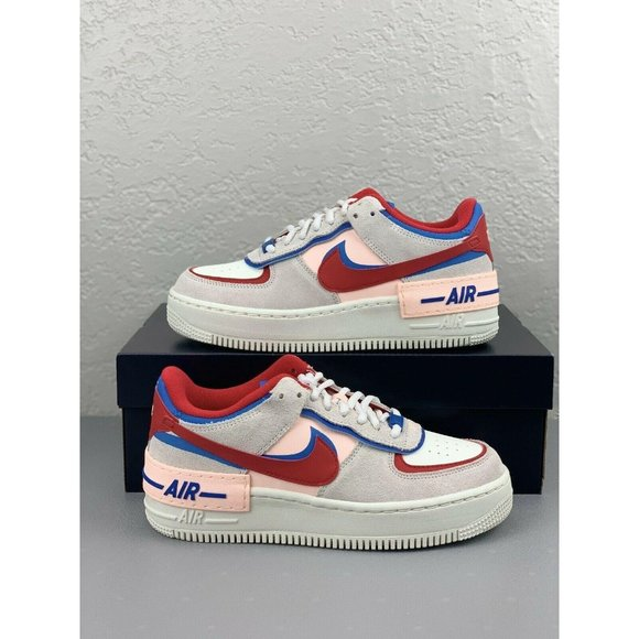 Nike Women's Air Force 1 Shadow Red Blue